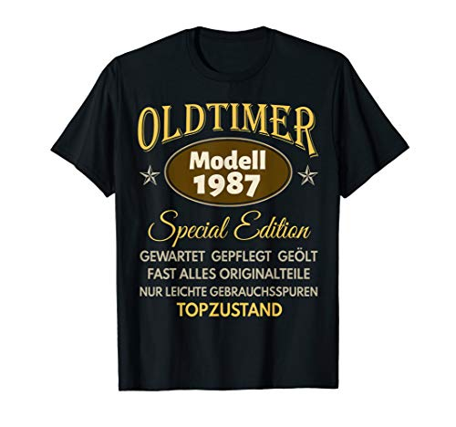 33. Geburtstag Mann Frau Oldtimer Jahrgang 1987 Geschenk T-Shirt
