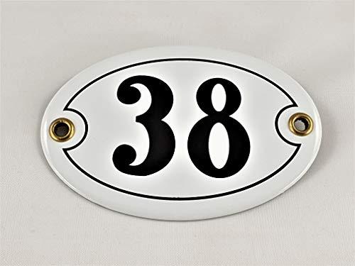 Emaille Hausnummer Schild Nr. 38, oval, Weiß-Schwarz
