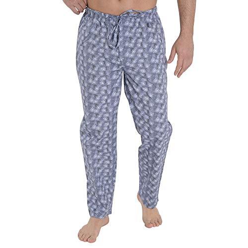 El Búho Nocturno - Pantaloni Pigiama Lunghi Stampato di monocicli da Uomo   Abbigliamento da Notte Classico per Signori - Popeline, 100% Cotone - Taglia L - Blu Scuro
