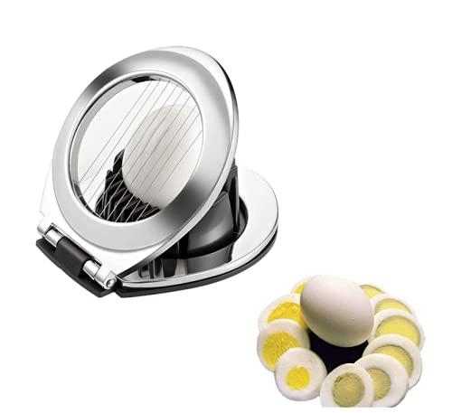 Cortador De Huevos De Acero Inoxidable, 2 en 1 Rebanador de Huevo Egg Slicer Cortador de Fresas Herramienta para Cortar Huevos, Cortahuevos Cortador para Huevos De Acero Inoxidable Para Fruta