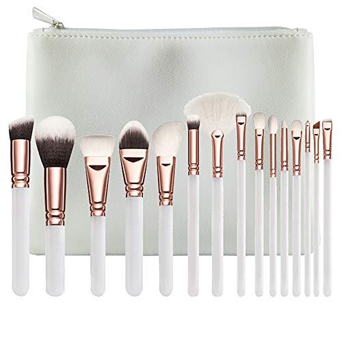 Xiton pinceau de maquillage 15 pièces pinceaux de maquillage de Kit Maquillage de cheveux Brosses fard à paupières de teint en poudre Brosses Outils multifonctions beauté avec sac cosmétique,Blanc