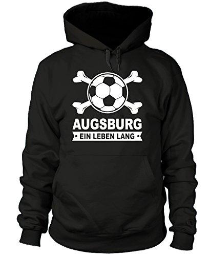 shirtloge - Augsburg - EIN Leben Lang - Fan Kapuzenpullover - Schwarz - Größe XL