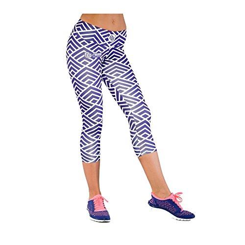 Nessi OSTK Pantalon de Course 3/4 pour Femme Respirant Jaune à Carreaux - 05 violettweiss - m-l