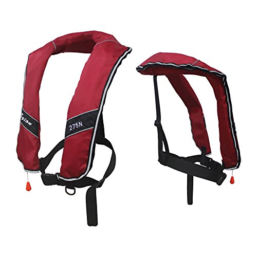 Premium Quality Automatic/Manual Inflatable Life Jacket Life Vest Inflate Survival Aid PFD 275N Buoyancy XXXL Size for Adult New - Red Color