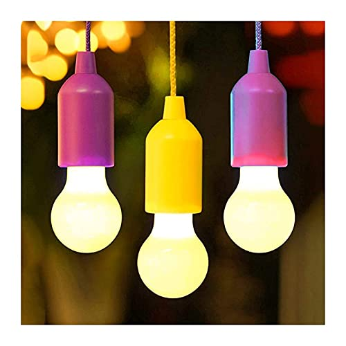 Outdoor String Lights Portable LED Hanging Light Bulb Battery Powered Colorful Pull Cord Bulbs Night Light For Outdoor Camping Tent Lamp Home Decoration (Color : Red)