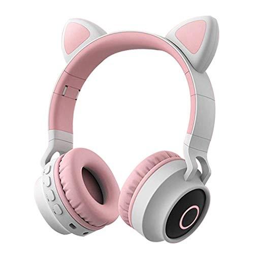 Haptian Opvouwbare Cat Ear Headset LED Lights Draadloze BT Muziek Hoofdtelefoon voor Kinderen Meisjes