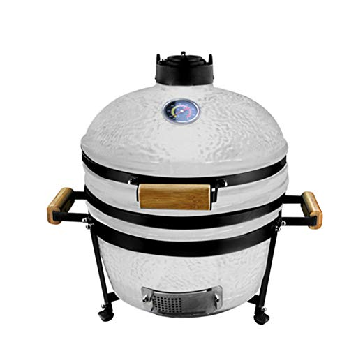 RJMOLU 16 Inch Ceramic BBQ Grill, Pizza Baking Chicken Grilled Roasted Oven Beef Steak Cooking Grid, Smoker Barbecue Grill for Picnic,White