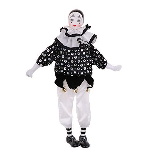 F Fityle 38cm Arlequin Pierrot Jester Clown Poupée en Porcelaine dans des Vêtements 15 Pouces de Hauteur # 4