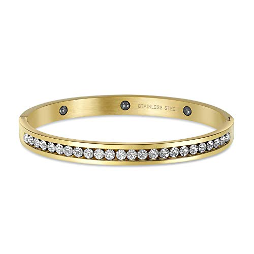 Bling Jewelry Channel Set Bianco Cubic Zirconia CZ Bracciale impilabile per Donna Prom Matrimoni Placcato Oro Acciaio Inossidabile