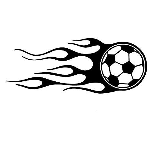 Bonitos pegatinas 13.8cmx5.5cm Fútbol con vinilo de pegatinas de carro de llama Sticker de carro (Color : BLACK)