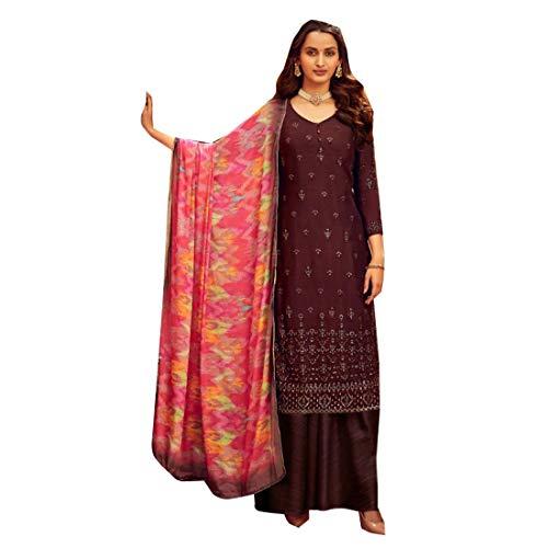 Ethnischer Wein, genäht, Chinon, Chiffon, gerade, Party, Eid, Muslim, Festival, indischer Salwar Kameez gedruckt, Dupatta 5280 (XL) - - X-Large