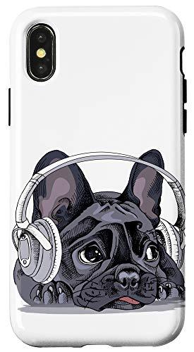 iPhone X/XS Cute French Bulldog Headphones Dog Bull Dog Lover Gift Case
