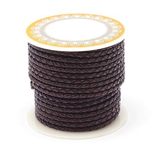 PandaHall Cordón de cuero trenzado de 3,5 metros de 6 mm de color marrón de coco redondo cordón de cuero auténtico para hacer pulseras y collares