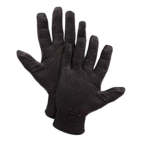 """AMZ 12 Pairs of Brown Jersey Gloves 10"""" Size Cotton Polyester Knit Gloves for Cooking Grill Barbecue Garden Painter Mechanic Work Industrial Warehouse"""