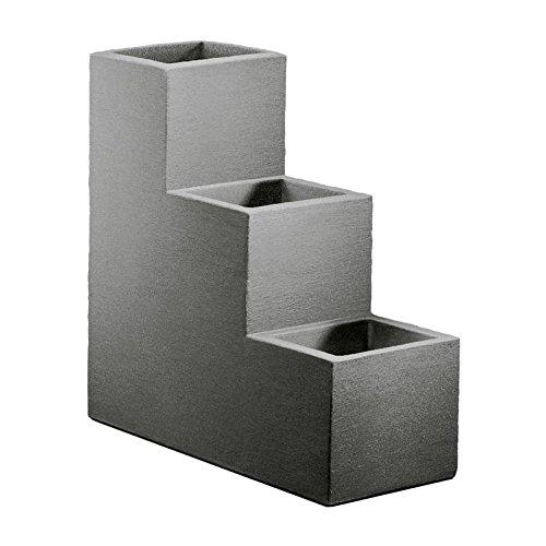 Kölle Pflanzkübel-Treppe Kubus grau, 60x27x60 cm, 60 Liter Erdvolumen