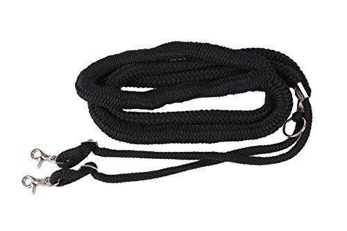 QHP Longierhilfe Longierleine Longe Bodenarbeit 4 Farben 4 Größen (XL, schwarz)