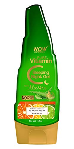 WOW Skin Science Pure Vitamin C Sleeping Night Gel with Aloe Vera - Night Time Aid to Revive Dry, Dull & Aging Skin - Non Sticky - Light & Quick Absorbing - No Parabens, Silicones & Color - 150mL