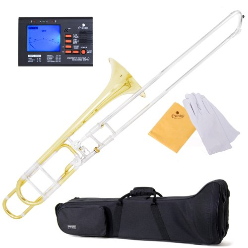 Mendini by Cecilio Bb Intermediate Tenor Slide Trombone Includes 1 Year Warranty, Tuner, Case, and More (with F Trigger (no pocketbook))