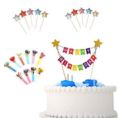 """Geburtstagstorte Dekoration, """"Happy Birthday"""" Geburtstag Wimpelkette, Tortendeko Kuchen Bunting Banner , für Kindergeburtstag Party (Farbe)"""
