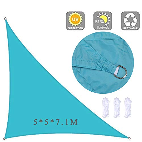 Spinnaker luifel | 5 * 5 * 7.1m | schaduwzeilen | UV-bescherming | tuin-, zwembad- en terrastenten | outdoor stoffen,Lake blue