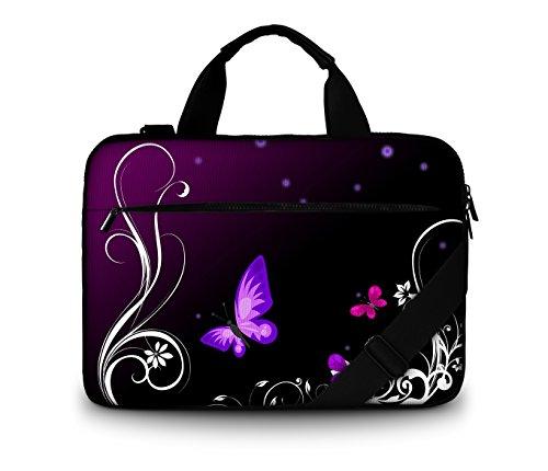 Luxburg® Design gepolsterte Business- / Laptoptasche Notebooktasche bis 15,6 Zoll mit Schultergurt, Mehrzwecktasche, Motiv: Schmetterlinge lila