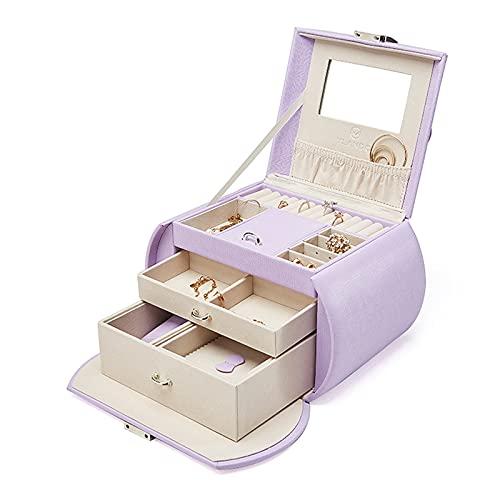 OMYLFQ 3 Cajas de joyería de Viaje de Nivel PU Bolso de joyería de Cuero con Espejo Caja de Viaje portátil para Anillos, Collares, Pendientes, Pulseras (Color : Purple)