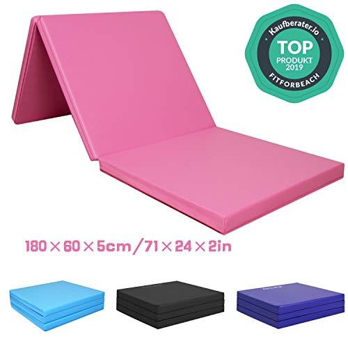CCLIFE Tappetino Pieghevole Ginnastica 3 Pieghe,con Maniglie,180 * 60 * 5 cm Materassino Pieghevole Fitness e Yoga, Colore:Rosa