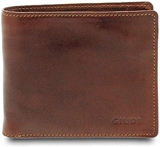 GIUDI ® - Portafoglio uomo in pelle vacchetta, vera pelle, portafoglio con portamonete, Made in Italy (Marrone)