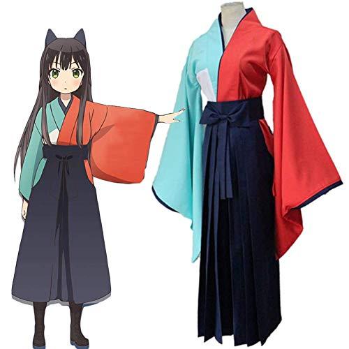 QQA Anime Urara Meirochou Tatsumi Kon Traje de Cosplay Halloween o Uso Diario Traje de Kimono,Negro,M