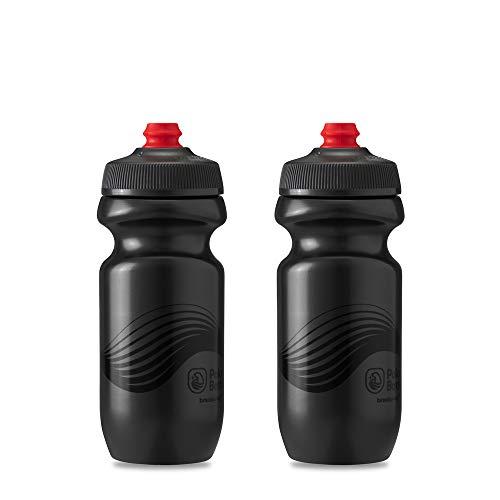 Polar Bottle Breakaway Wave Lightweight Bike Water Bottle 2-Pack - BPA-Free, Cycling & Sports Squeeze Bottle (Charcoal & Black 20 oz)
