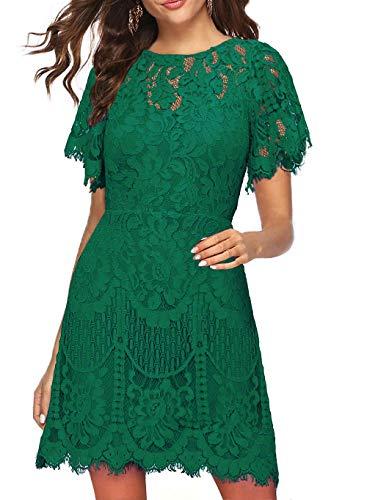 MSLG Wedding Geust Dress for Women Evening with Sleeve Summer Elegant V-Back Floral Lace Cocktail Party Dresses 910 (Green, L)