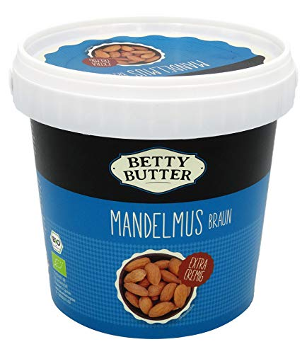 Bio Mandelmus braun, 1 kg Eimer, Premium-Mandelbutter, Mandelpüree, Almondbutter, natürliches Nussmus ohne Zusatzstoffe
