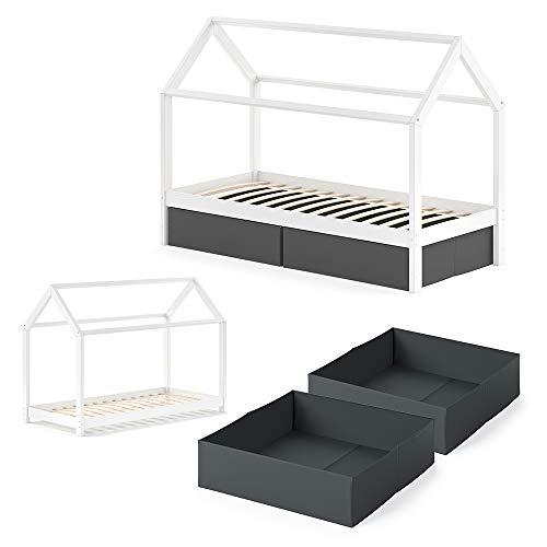 VitaliSpa Kinderbett Wiki 90x200 cm Weiß Schlafplatz Faltboxen schwarz Hausbett Kinderhaus