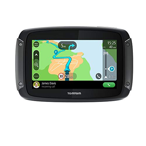 TomTom Motorcycle Sat Nav Rider 50, 4.3 Inch with Motorcycle Specific Winding and Hilly Roads, Updates via Wi-Fi, Compatible with Siri and Google Now, 3 Months Traffic and Speed Cams, WE Maps