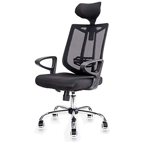 Ergonomischer Schreibtischstuhl, Höhenverstellbarer Drehstuhl, Sessellift, Ineinander Greifen-Stuhl, Stahl Fuß WXIFEID (Color : Black)
