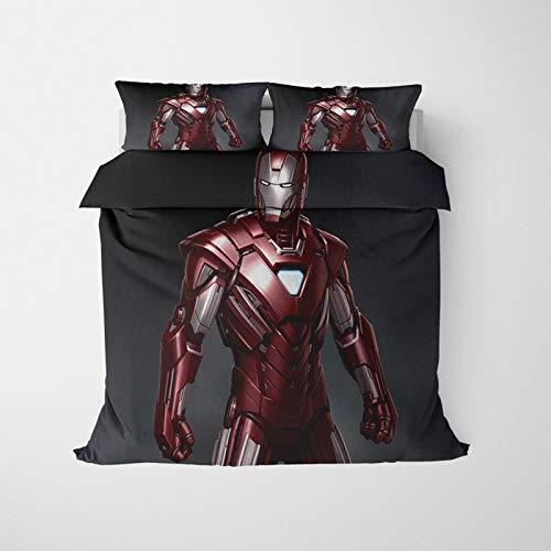 ASDZXC Iron Man - Juego de funda de edredón y funda de almohada con cremallera, decoración de dormitorio, microfibra suave y cómoda para la decoración de la ropa de cama de verano (220 x 260 cm)