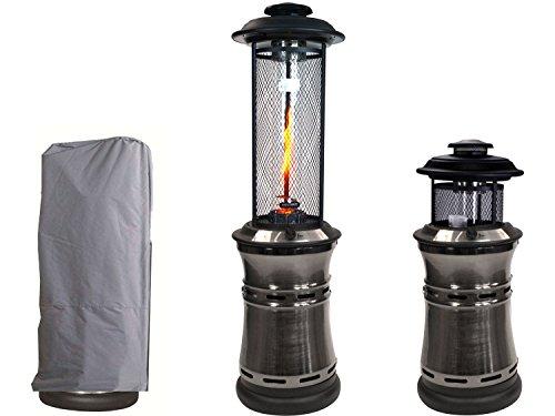 Traedgard® Gas Heizstrahler Milano mit Glasröhre 190 cm, versenkbar, mit Schutzhülle, Rollen und Gastroset (Gunmetall)