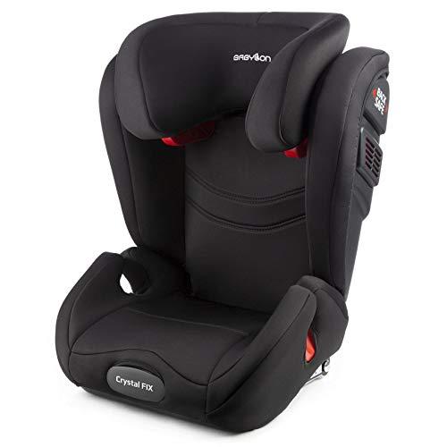 BABYLON Babysitz Auto Crystal Fix Autokindersitz Gruppe 2/3, Kindersitz 15-36 kg (3 bis 12 Jahren). Autositz Einstellbare Kopfstütze Kindersitz Isofix ECE R44/04 Schwarz