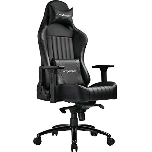 GTRACING Big and Tall 400lb Gaming Chair Memory Foam Office Chair-Adjustable Tilt, Angle and 4D Arms Ergonomic High-Back Leather Carbon Fiber Racing Executive Computer Desk Office Metal Base