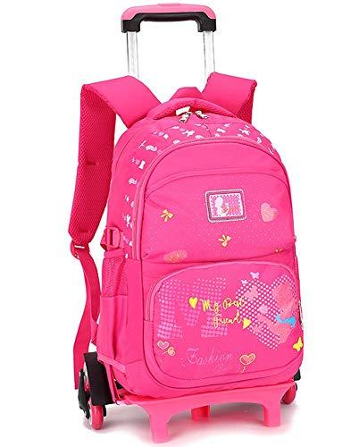 A-Nice Escaleras para Escalar de Seis Ruedas de Gran Capacidad Estudiantes de escuelas primarias y secundarias 2-5-8 Grado 6-12 años de Edad Bolso Trolley para niñas Caja de Mano (Color : Rosa roja)