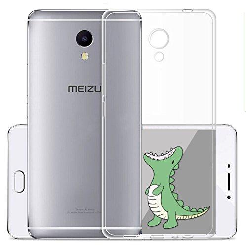 Sunrive Meizu M5S Hülle Silikon, Transparent Handyhülle Schutzhülle Etui Hülle Backcover für Meizu M5S(TPU Dinosaurier)+Gratis Universal Eingabestift