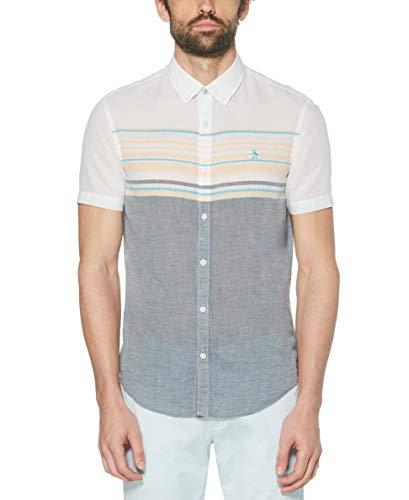 Original Penguin Men's Short Sleeve Stripe Button Down Shirt, Ballad Blue, XX Large