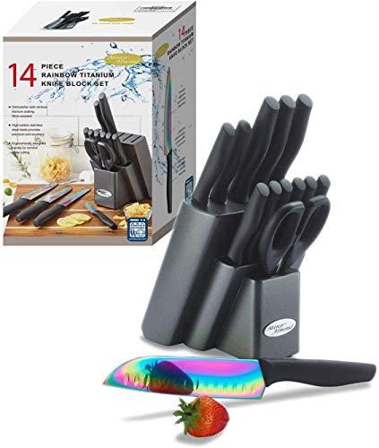 DISHWASHER SAFE KYA25 Rainbow Titanium Knife Block Set,...