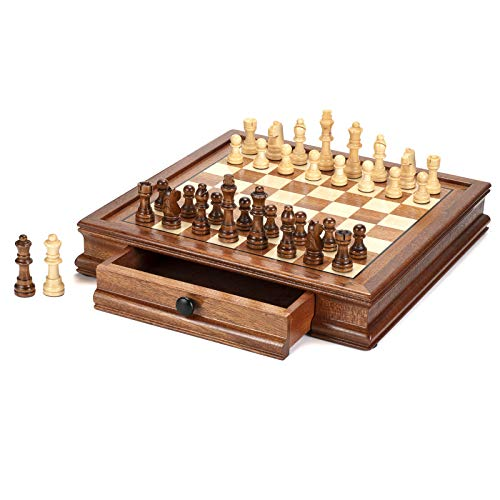 AMEROUS 12.5'' x 12.5'' Magnetic Wooden Chess Set, Chess Board Game with 2 Built-in Storage Drawers - 2 Bonus Extra Queens - Gift Packaging - Chess for Beginner, Kids and Adults