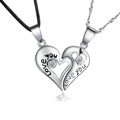 Sterling Silver Two Piece Heart 'Love You' Couples Pendant Necklace Set,...