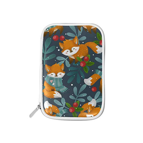 MERRYSUGAR Big Pencil Case Fox Flower Floral Cute Pencil Pouch Bag Pencil Holder with Zipper for Girls Boys School Office Supplies Makeup Pourch PU Leather