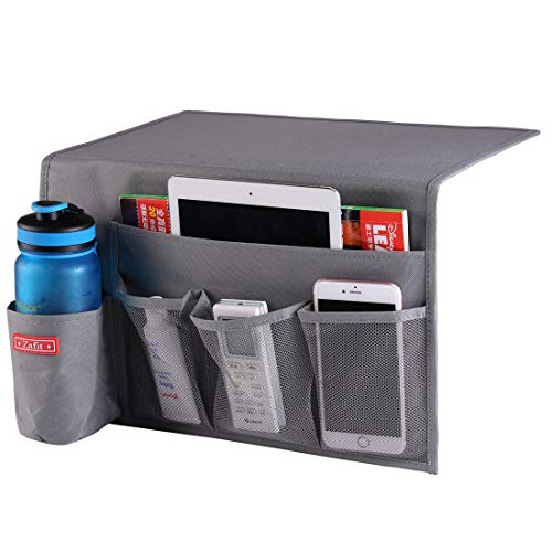 Zafit 5 Pockets Bedside Caddy, Bedside Storage Organizer for Water Bottles, Magazines, Phone, Glasses (Grey)