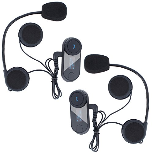 FreedConn TCOM-SC Motorcycle Helmet Bluetooth Intercom Headset Communication Systems Kit, for 2 or 3 Riders, LCD Screen/FM Radio/Mobile phone/MP3/GPS Connective/Range 800m / Handsfree (2 Pack)