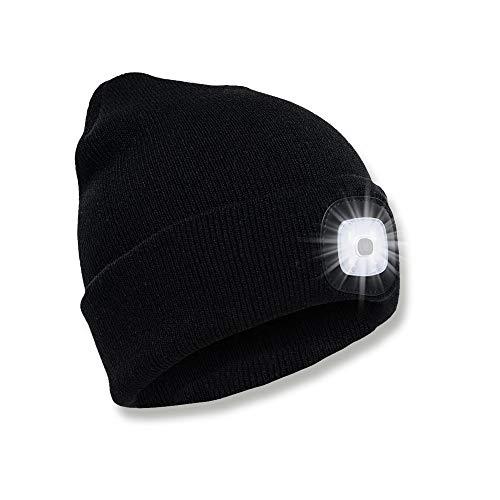 SPGOOD LED Beanie Beleuchtete Mütze mit Licht Laufmütze Herren Damen Kappe Lampe USB Nachladbare Mütze Stirnlampe Winter Warm Cap mit LED Licht für Jogger,Camping,Angeln,Walking,Laufen