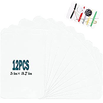 """Harsgs 12 Pieces Iron On Denim Patches Sewing Repair Patches Rectangle Iron on Inside & Outside for Clothing and DIY Repair 5""""× 3.7"""" White"""